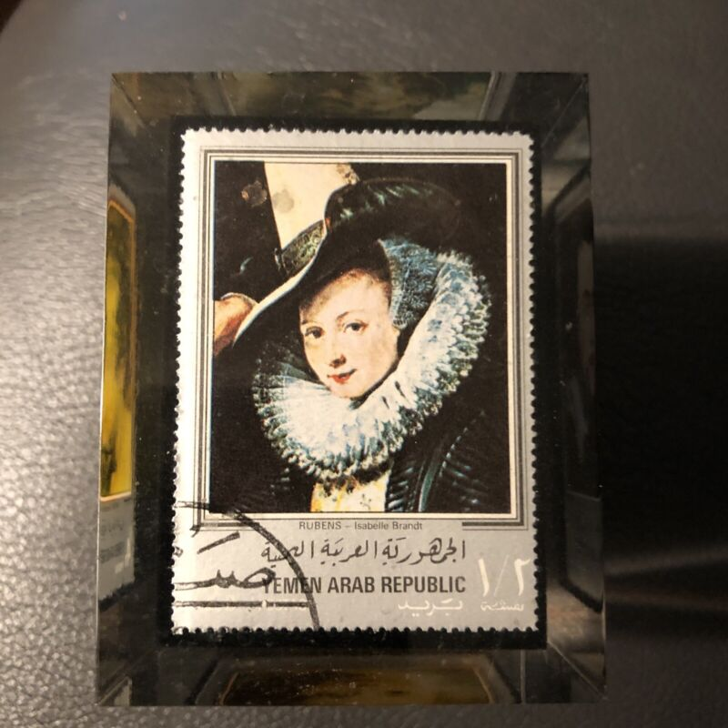 Vintage Yemen Arab Republic Stamps Clear Resin Cube Paperweight Famous Artists