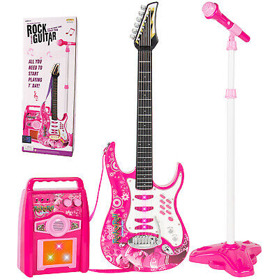 Upgrade Pink Girls Electric Guitar Set MP3 Player Learning Toys Microphone, Amp Electric Guitar Player