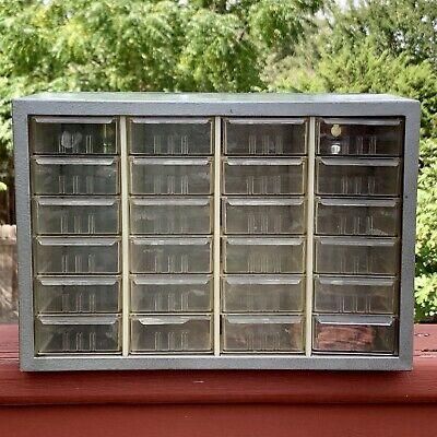 Vintage Akro Mils 24 Drawer Metal Small Parts Organizer Storage Cabinet Bin Gray