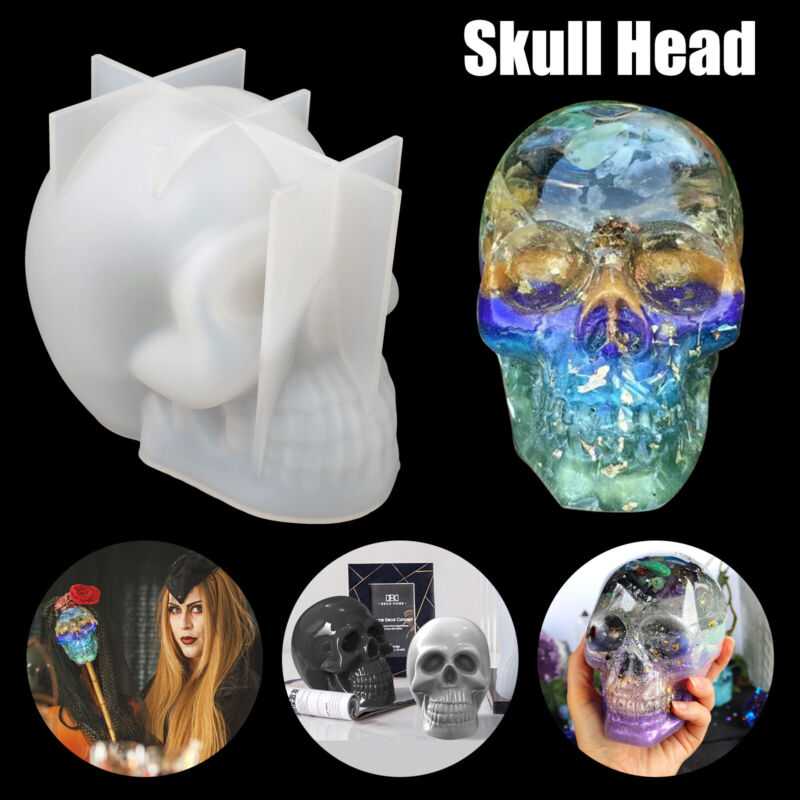 3D Skull Head Silicone Mold Halloween Table Decor Epoxy Resin Mould DIY Craft