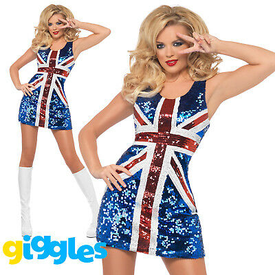 Ginger Spice Costume (Union Jack Sequins Ginger Spice Costume Womens Ladies Sexy Fancy Dress)
