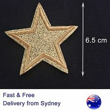 Gold Star Glitter Iron On Embroidery Patch