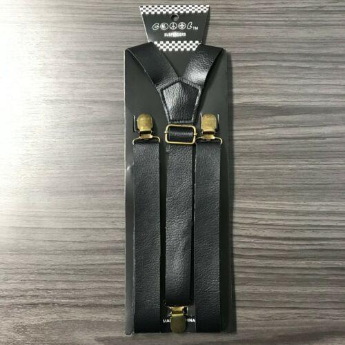"1x Black Fauxleather Mens Clip-on 1.0"" Wide Suspenders Elastic Y-shape Suspender"