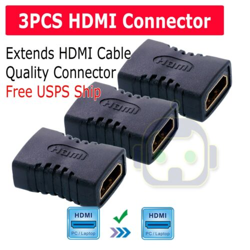 3X HDMI Female To Female Extender Adapter Coupler Connector F/F HDTV 1080P 4K