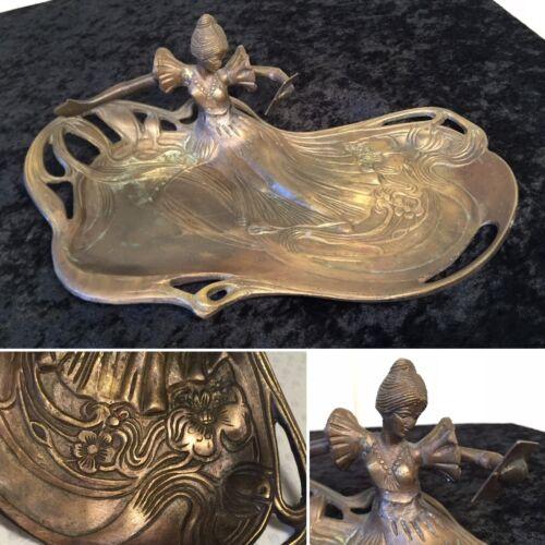 "Antique Austrian Bronze Art-Nouveau 12"" Vanity Pin Dresser Tray Woman Mirror"