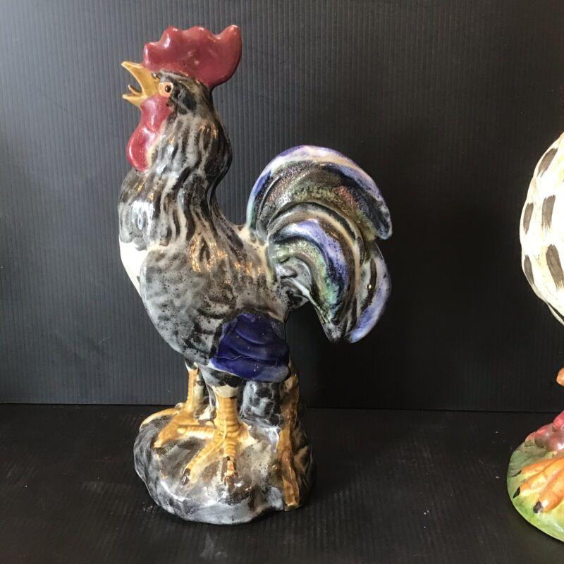 "Vintage Majestic Ceramic Rooster Chicken Figurine 11"" 1980"