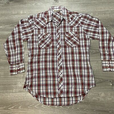 1970s Mens Shirt Styles – Vintage 70s Shirts for Guys Vtg 1970's Sears Western Wear Pearl Snap Long Sleeve Shirt Plaid Red Sz Large $29.97 AT vintagedancer.com