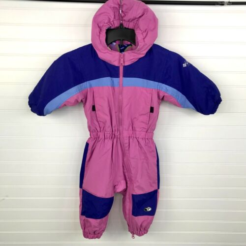 COLUMBIA Tectonite Toddler 2T One-Piece Hooded Snowsuit Ski Suit Fleece Lined