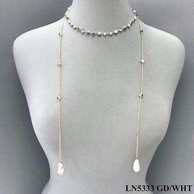 Simple White Tone Beaded Semi Precious Stone Charm Dainty Wrap Chain Necklace ()