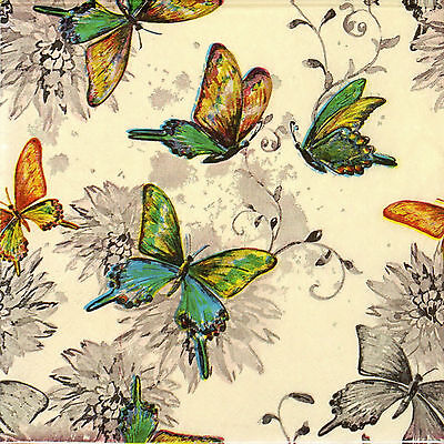 4x Paper Napkins -Butterfly World Cream- for Party, Decoupage ()