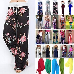 Mujer-Boho-Floral-Pantalones-largos-verano-Palazzo-Holgado-Pernera-Ancha-Yoga