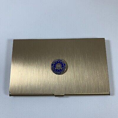 Department Of Justice Fbi Business Metal Business Card Holder Brass-tone