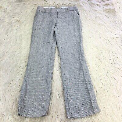 Banana Republic Women's 4P 4 Petite Gray White Striped Linen Hampton Fit Pants