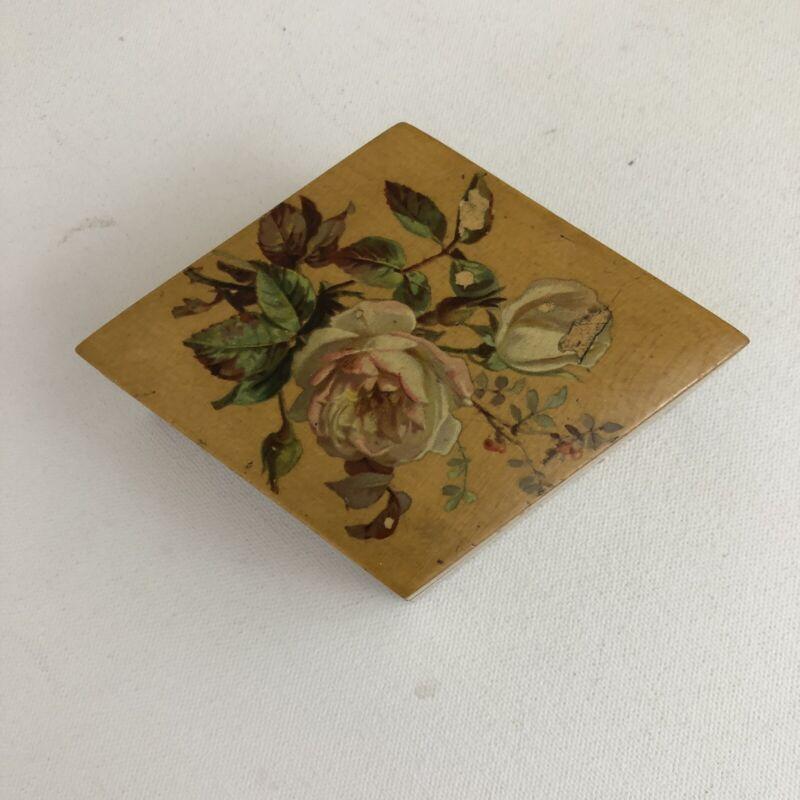 JP Coats Antique Wooden Floral Box