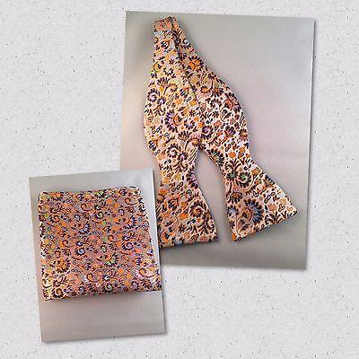 Multicolor orange, purple, blue, gold Silk Self Tie Bow Tie and Pocket Square Orange Silk Bow Tie