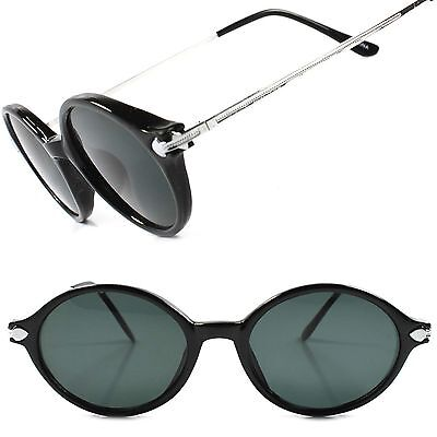 Black Old 60s 70s True Vintage Hippie Fashion Mens Womens Round Oval Sunglasses