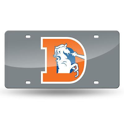 Denver Broncos Retro Mirrored Laser Cut License Plate Laser Tag Denver Broncos Silver Laser