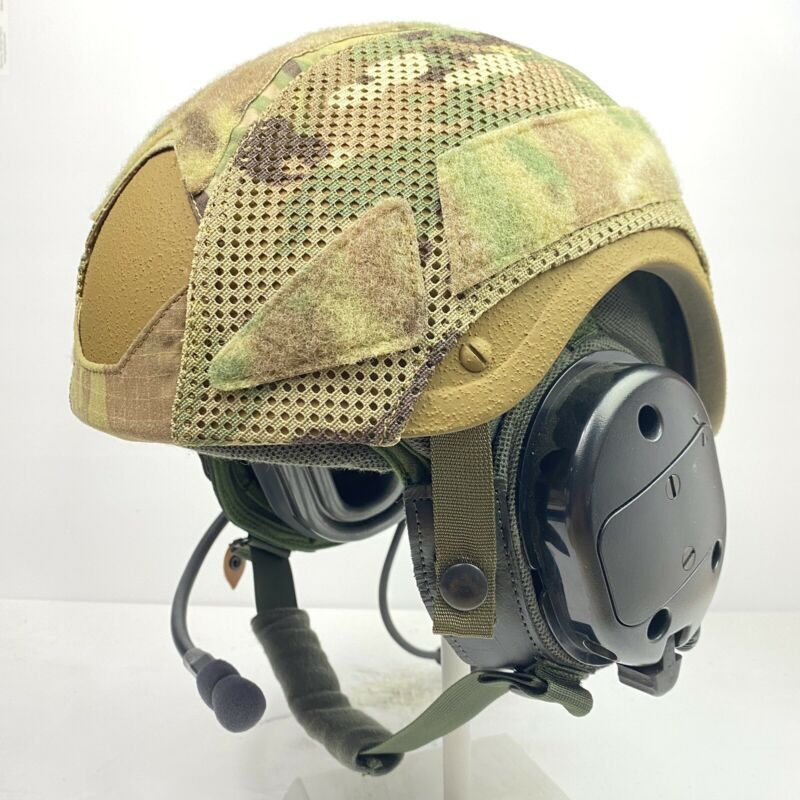 Large Multicam OCP CVC Combat Vehicle Crewman High Cut Hybrid Mesh Helmet Cover