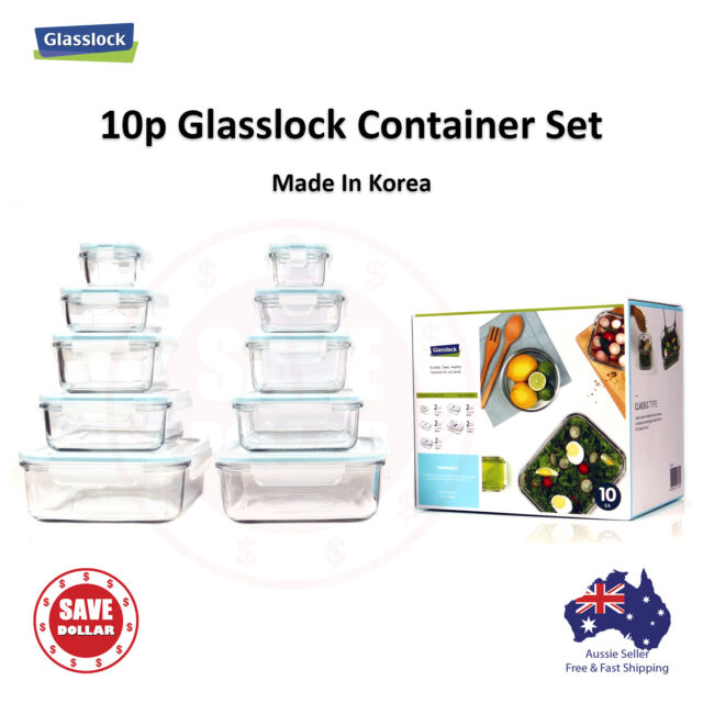 Gllock 10p Tempered Gl Food Container Storage Microwave Safe Gift Set