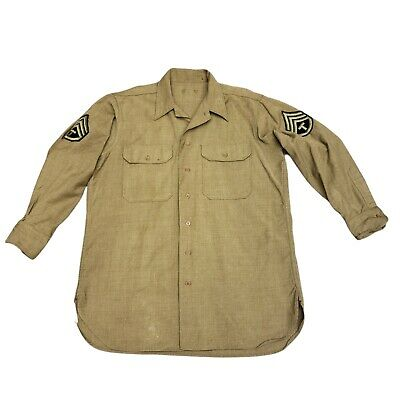 1940s Men's Shirts, Sweaters, Vests WWII Tech SGT Military Wool M/L Mens Shirt Green Button Up 1940's  16/32  $55.00 AT vintagedancer.com