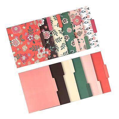 12 Pack Decorative Assorted File Folder Set 6 Floral Designs And 6 Solid Co...