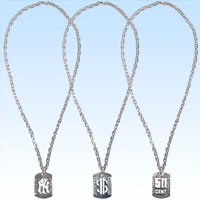 Silberne Ketten mit Anhänger 50 Cent Dollar oder Muster f. Kostüme o. (Silber Dollar Kostüm)