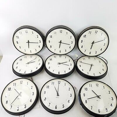 "9 Vintage Simplex 6310-9031 School Electric Hanging Slave Clocks 13"" 4Wire"