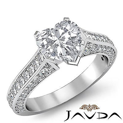 Cathedral Micro Pave Heart Cut Diamond Engagement Ring GIA Certified I VS2 2Ct