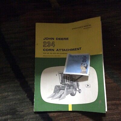 John Deere 234 Corn Attachment For 45 55 95 Combine Operators Manual Omn189077