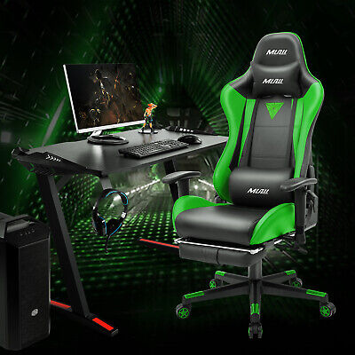Ergonomic Gaming Chair Computer Office Swivel Chair Racing Style With Footrest