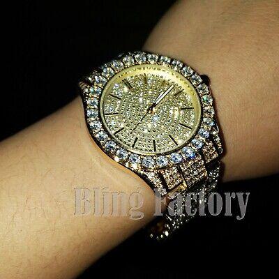 Men's Hip Hop Full Iced Quavo Gold PT Rapper Bling Lab Diamond Metal Watch
