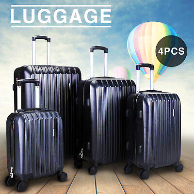 (New 4 Piece Travel Spinner Luggage Set Bag ABS Trolley Carry On Suitcase Black)