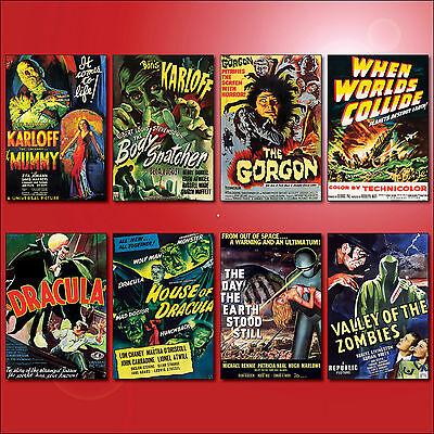 Classic B Movie Film Poster Fridge Magnets Set of 8 large fridge magnets No.3
