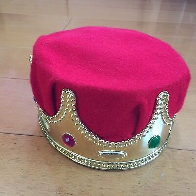 Boys Crown HALLOWEEN COSTUME Red Velvet GEMS GOLD one size PRETEND PLAY King Hat - Halloween Costume Red Hat