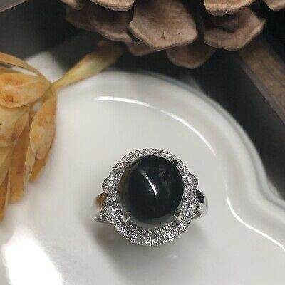 Grade A Black Jadeite Jade Omphacite Green Oval Cabochon Ring 18K White Gold