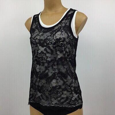Michael Kors Women Small/ Medium Black Lace White Tank Top T Shirt  Sleeveless