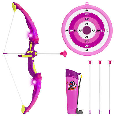 BCP Kids Light-Up Archery Toy Play Set w/ Bow, 3 Arrows, Quiver, Target - Pink