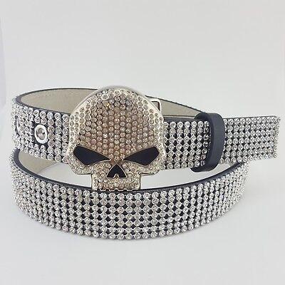 (Harley Davidson Crystal Skull Buckle with Crystal Panel belt)
