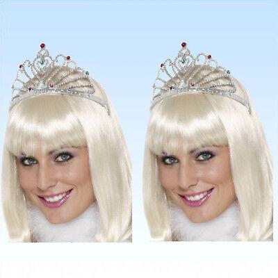 2 x Krone Königin silber  Diadem Kopfschmuck Prinzessin Modeschmuck Königskrone