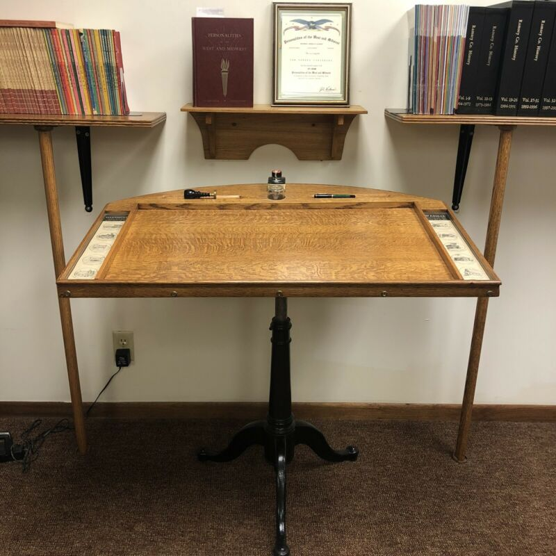 Custom Made Quarter Sawn Oak Drawing Table Style Podium Dodge County Minnesota