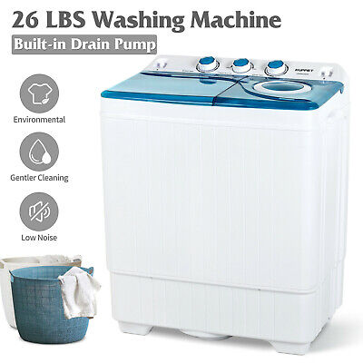 26 LBS Twin Tub Mini Washing Machine Compact Laundry Spinner Dryer w/ Drain Pump