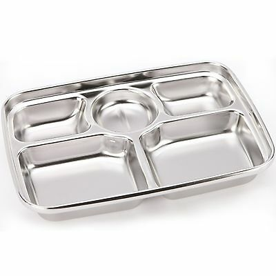 Stainless Steel Food Snack Tray hygienic Lunch Side Dish Rectangular Plate Diet