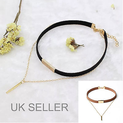 Tan Velvet Cord - Choker Black/Tan Multi-layer Cord Velvet Choker Classic Charm Necklace Retro-UK
