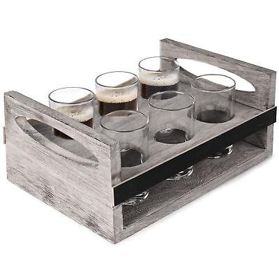 MyGift 6-Glass Craft Beer Tasting Flight Set with Rustic Wood Serving Caddy (Beer Tasting Flight Set)