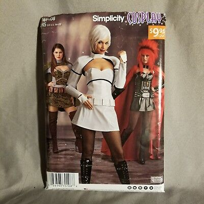 Simplicity Sewing Pattern W0108 Cosplay Costume Uncut Bustier Skirt Cape 14 - 22