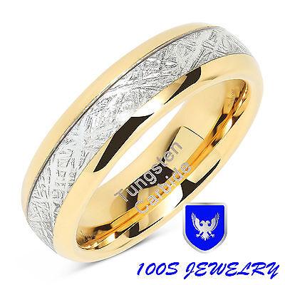 - 6mm Mens & Womens Tungsten Carbide Ring Meteorite Inlay Wedding Band Size 4-13