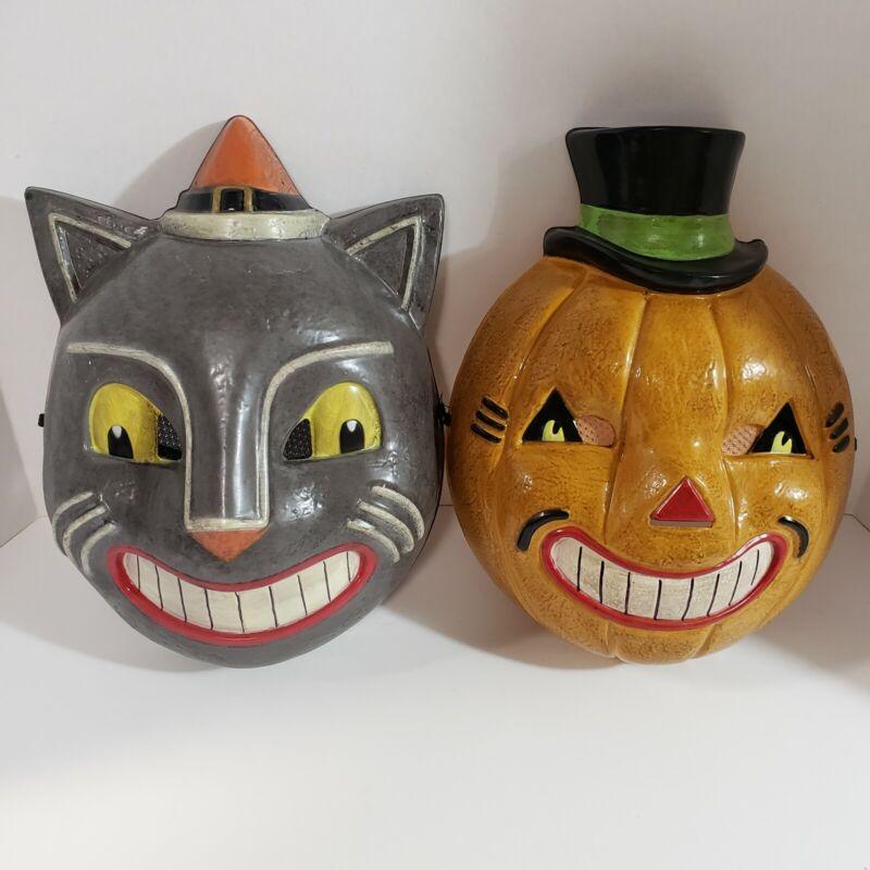 Vintage Inspired Halloween Cat & Pumpkin Mask Set Plastic Costume