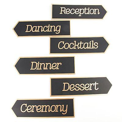 Black And Gold Wedding Decorations (Wedding Directional Signs 6-pc. by Celebrate It Occasions Black and)