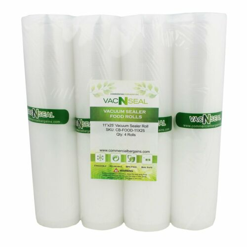 "4 Vacuum Food Sealer Saver Storage Bag Rolls 11"" Wide 25"