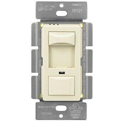 Slide Dimmer Switch Single Pole Incandescent 600W W/ Backlight Light Almond Slide Almond Dimmer